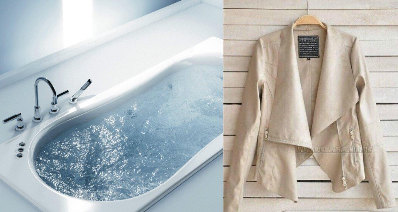 как разгладить куртку из экокожи над ванной с горячей водой