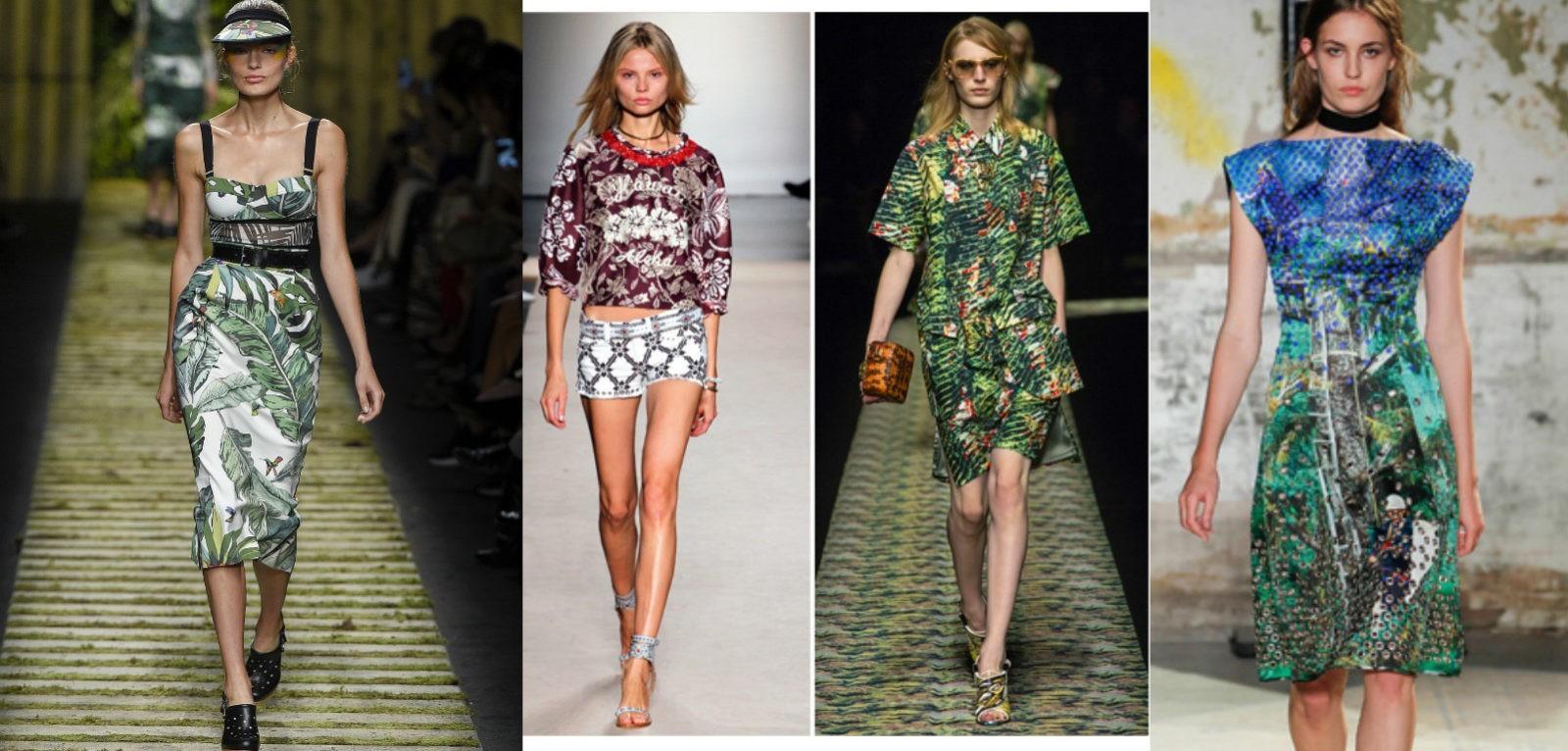 модные принты весна-лето 2017, экзотические, тропические принты