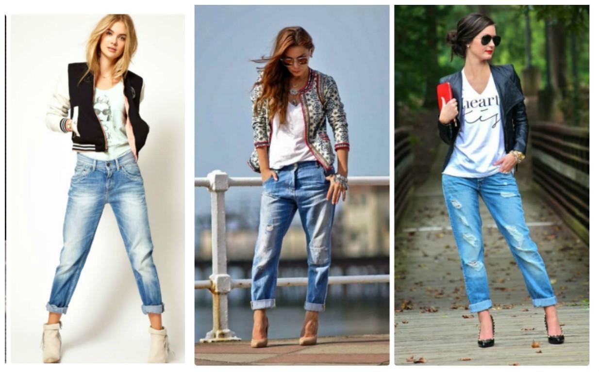 фото джинс бойфрендов, модные тенденции 2017-2018, женская уличная мода