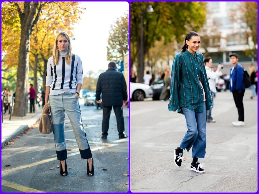 уличная мода, мода Парижа, джинсовые луки, мода весна лето 2017-2018