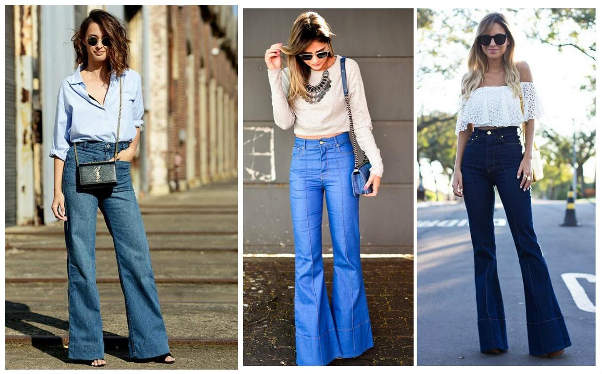 широкие женские джинсы клеш, мода 2017-2018