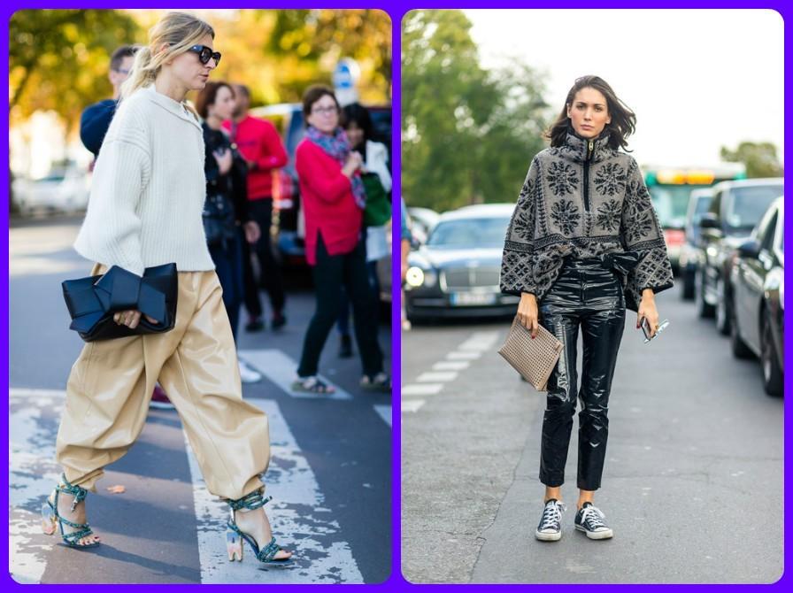 модные брюки весна лето 2017 2018, модные уличные луки Парижа, с чем носят брюки из экокожи