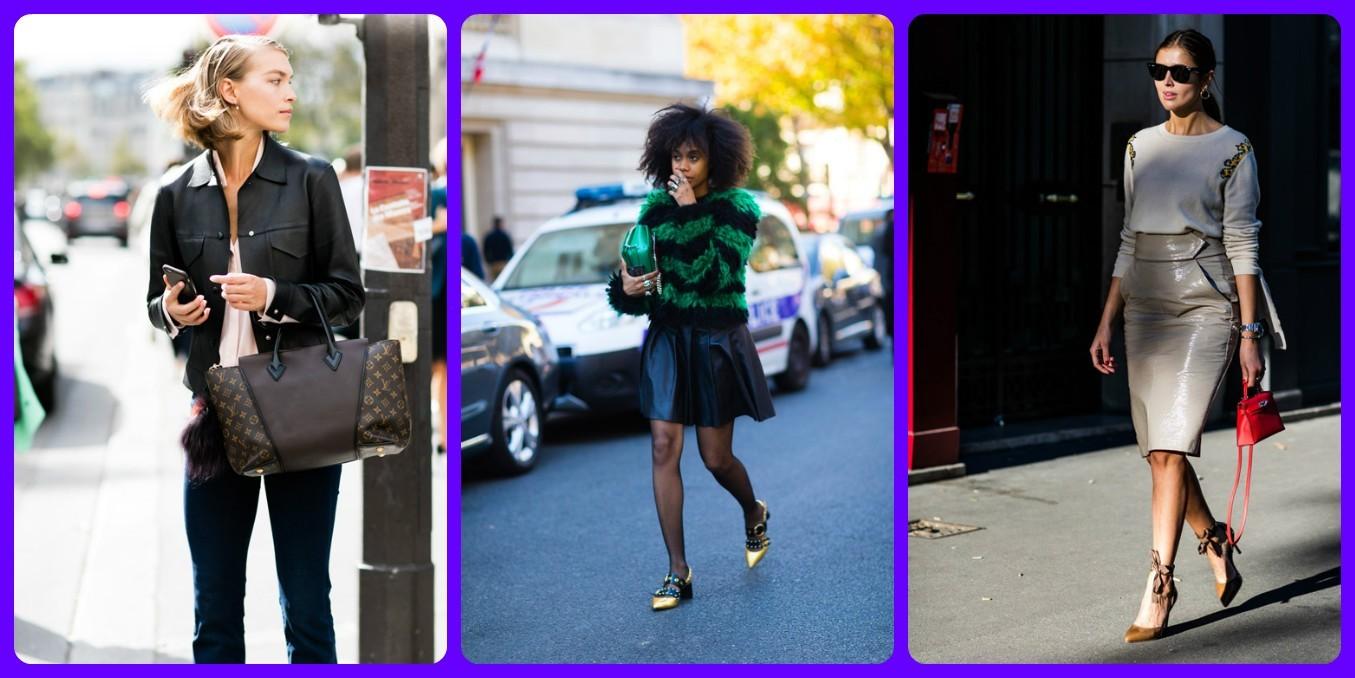 модные куртки, юбки из экокожи, весна лето 2017 2018, уличная мода Франции