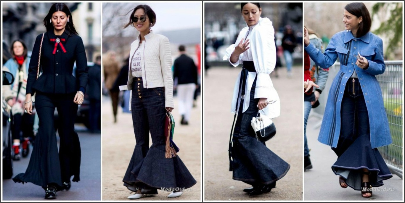 мода осень зима 2017 2018, женские брюки с воланами
