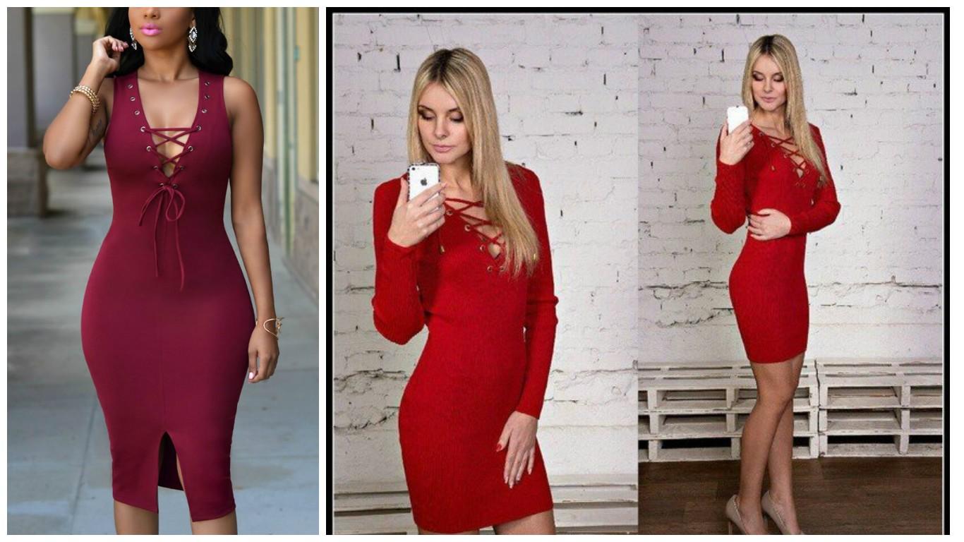 мода осень зима 2017 2018, красное платье, вязанное платье со шнуровкой