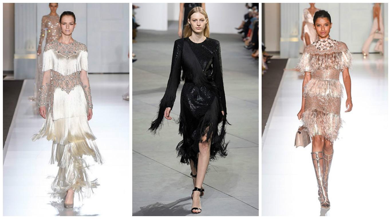 платья с бахромой, мода осень зима 2017-2018
