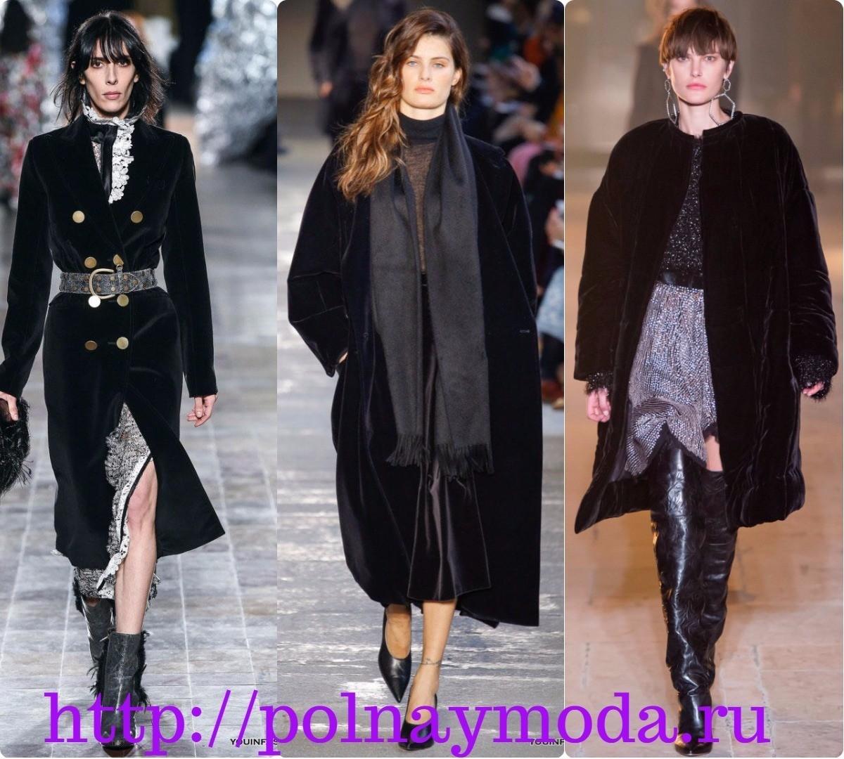 Бархатное пальто зимнее фото. Мода зима 2018 2019. черное классическое пальто из бархата.