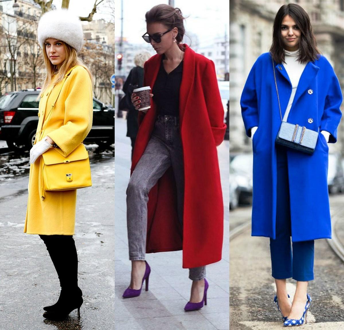 пальто желтого, синего, красного цвета, зимнее, осеннее пальто