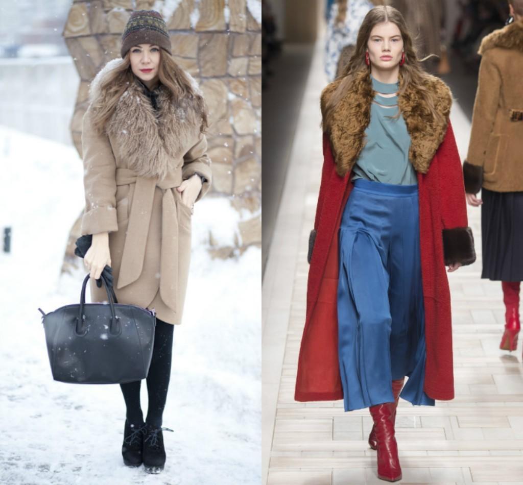 пальто зимнее с мехом, мода зима 2018 2019