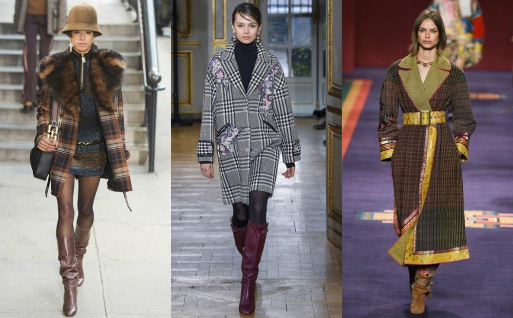 пальто 2018 2019 года модные, клетчатое пальто