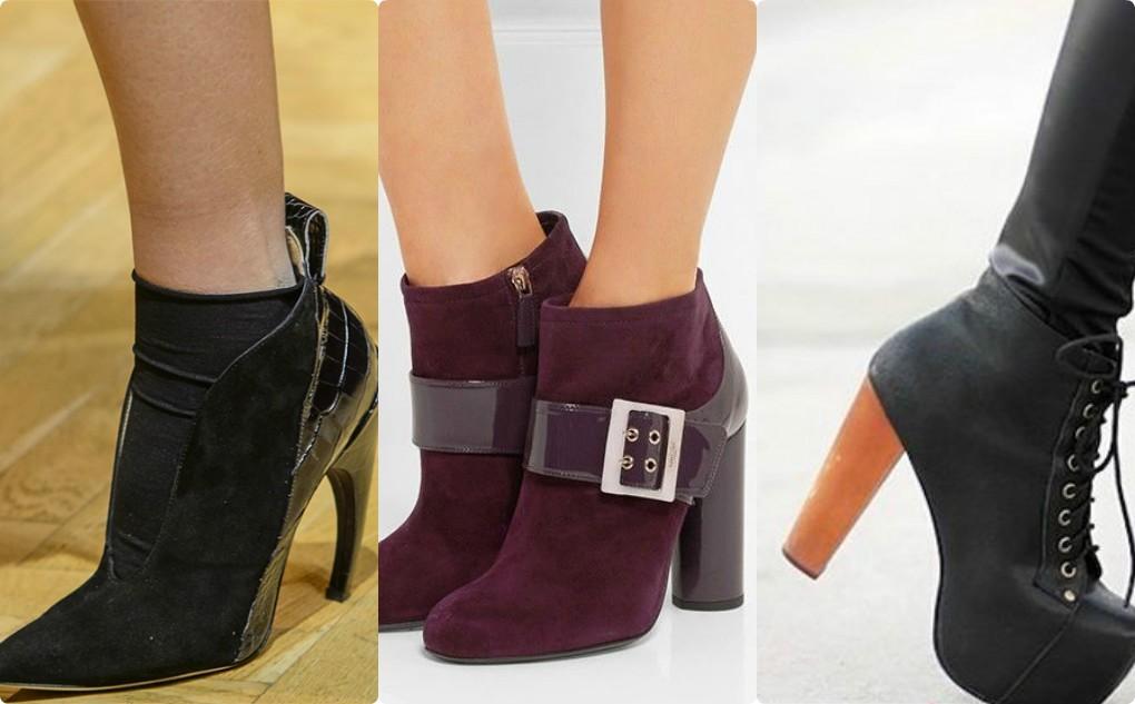 модная обувь 2018, ботильоны на каблуке, черные, бордовые, темно синие ботильоны
