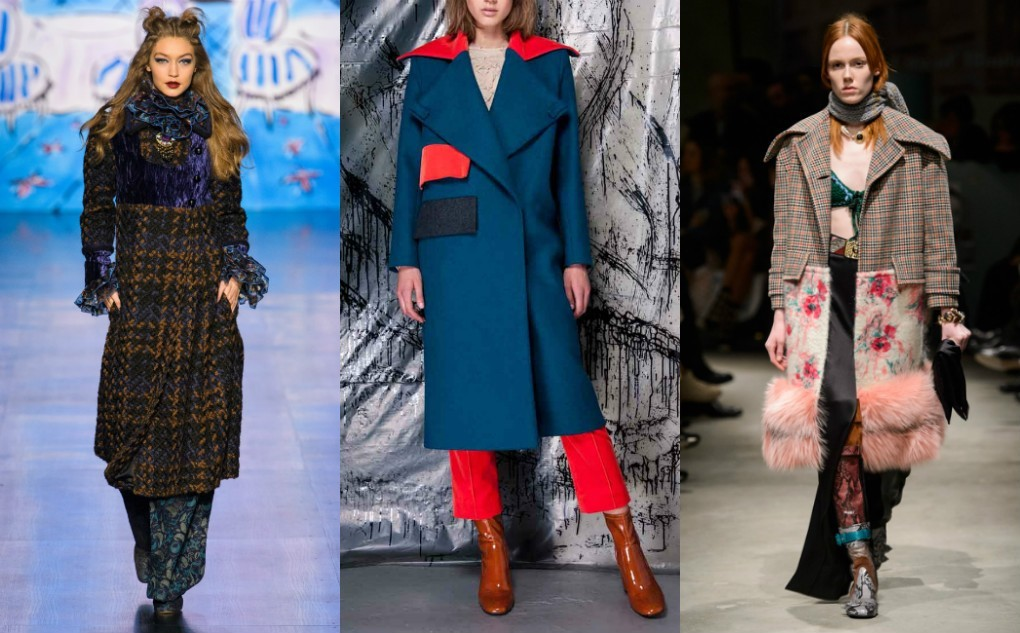 женское пальто из комбинированной ткани, зима 2018 2019