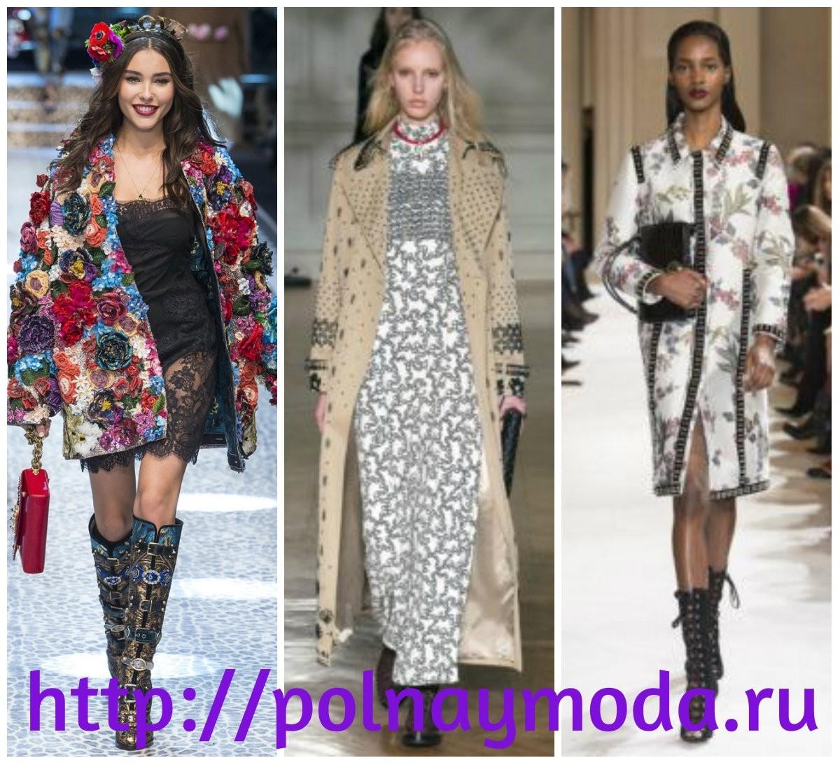 Пальто с вышивкой и аппликациями