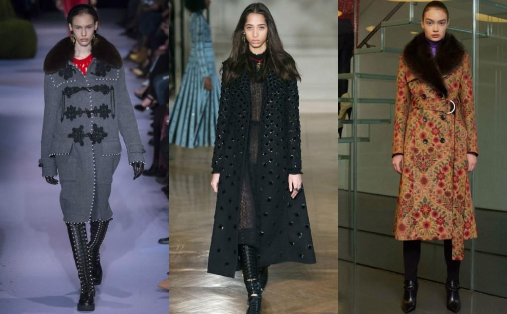 Женское пальто модное с паетками, вышивкой, принтом. Зима 2018 2019