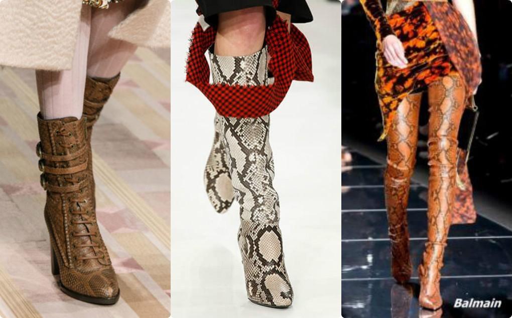 женская кожаная обувь 2018 2019, модные сапоги из кожи рептилий, полусапоги со змеиным принтом, сапоги крокодиливые
