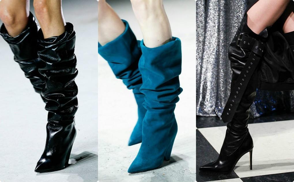 сапоги женские с голенищем гармошка, модная обувь женская 2018 2019, синие, черные сапоги длинные гармошкой