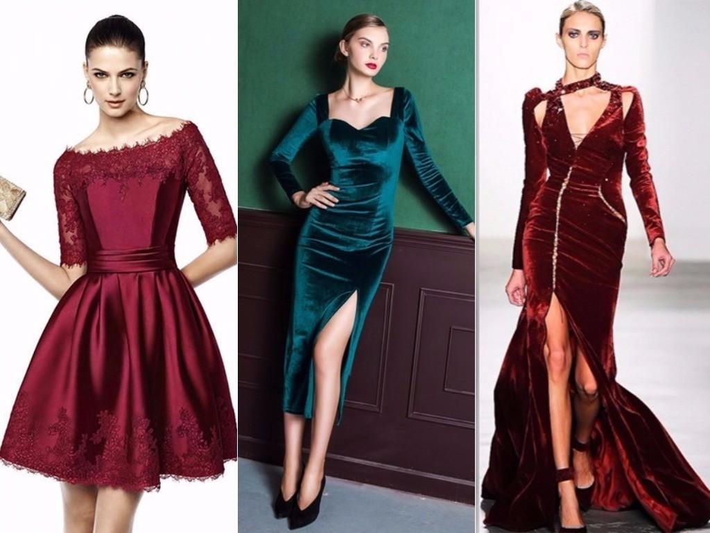 модные атласные, бархатные платья для нового года