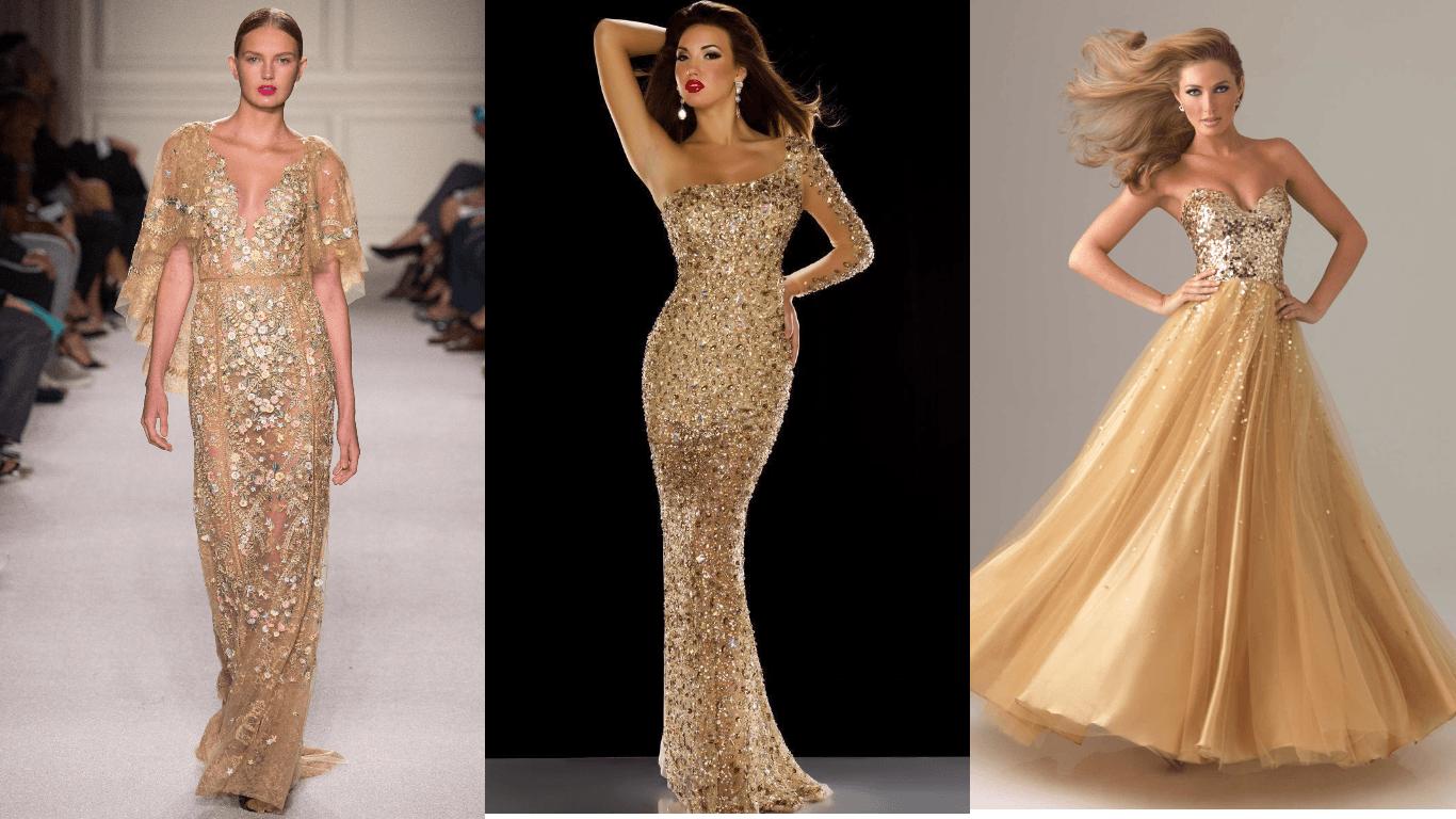 золотые платья для встречи Нового года 2018