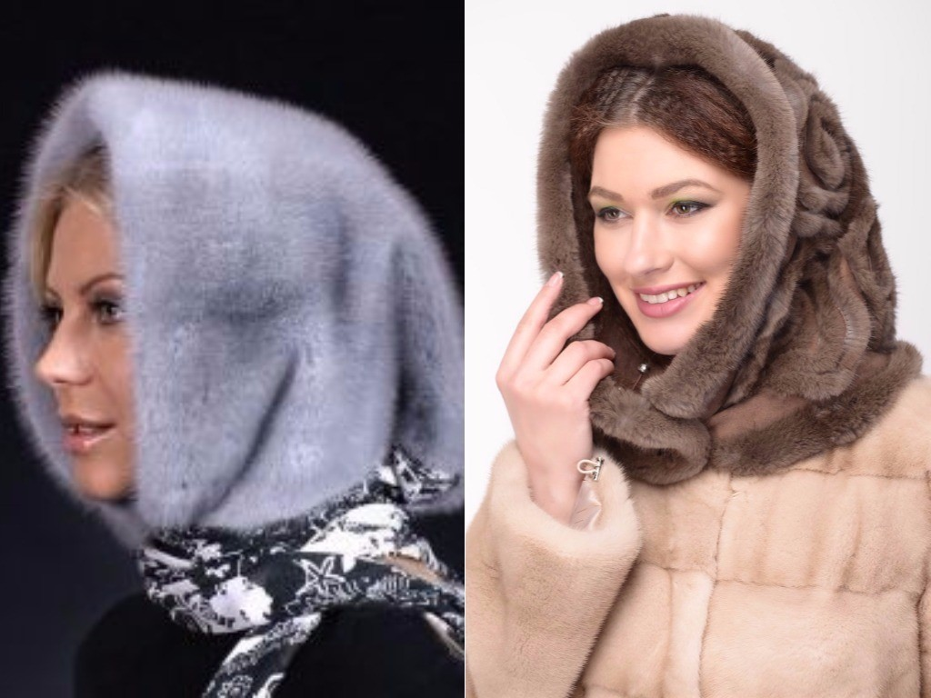 какие меховые шапки в моде зимой 2018, норковый капюшон, капор