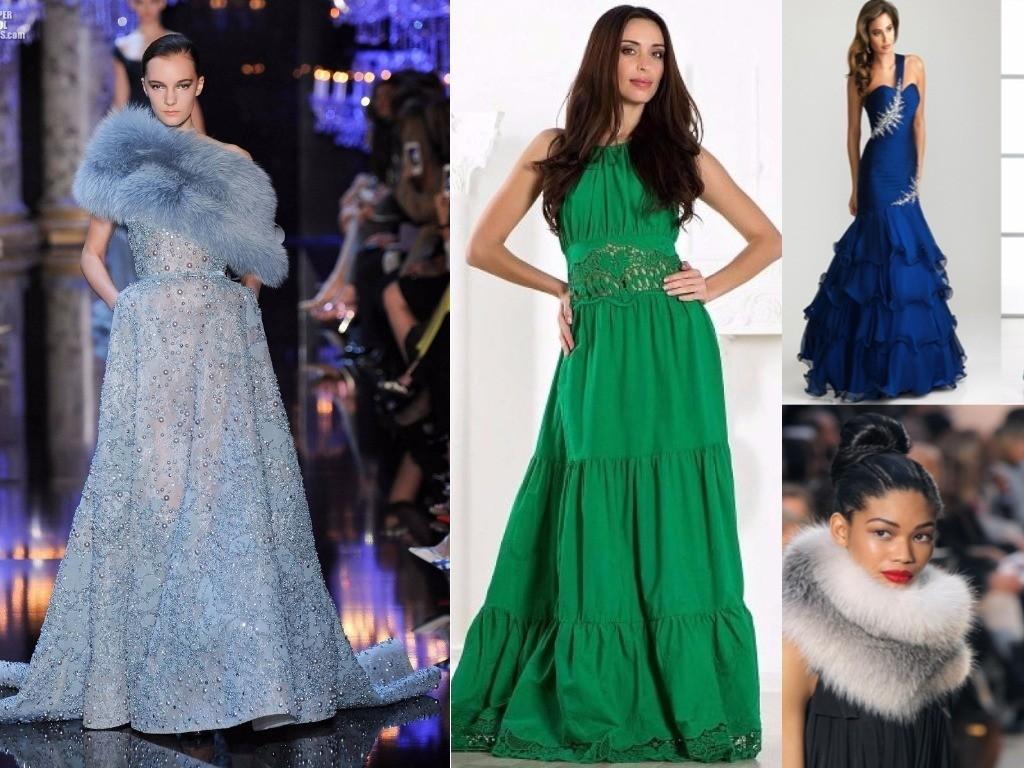 платья многоярусные синие, зеленые голубые для встречи Нового года женщинам весам