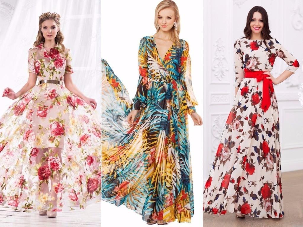 платья пышные с цветочным, фантазийным принтом для вечеринки
