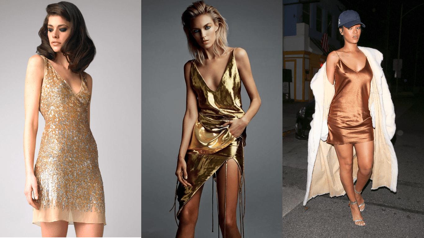 платье медного коричнево-золотого цвета для новогодней вечеринки