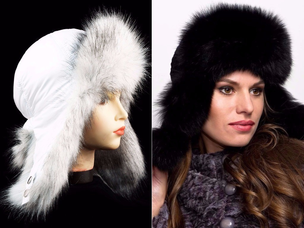 женская шапка-ушанка кожа с мехом белая и черная мода зима 2018 2019