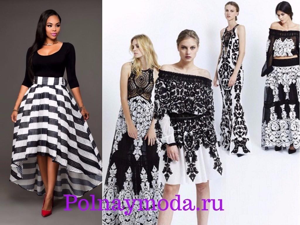 праздничные платья в черно-белом цвете