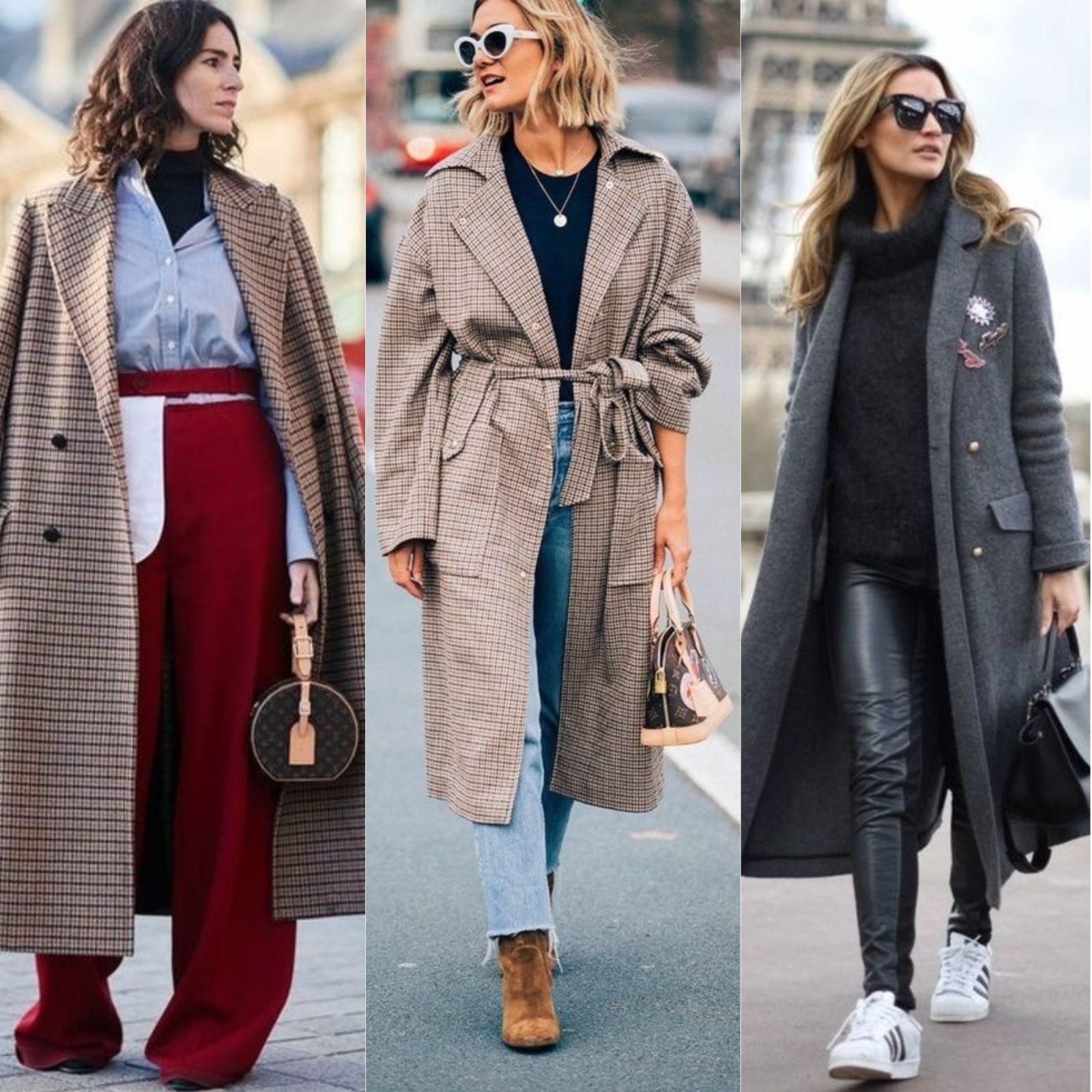 уличная мода 2018 весна верхняя одежда пальто в клетку полоску однотонное
