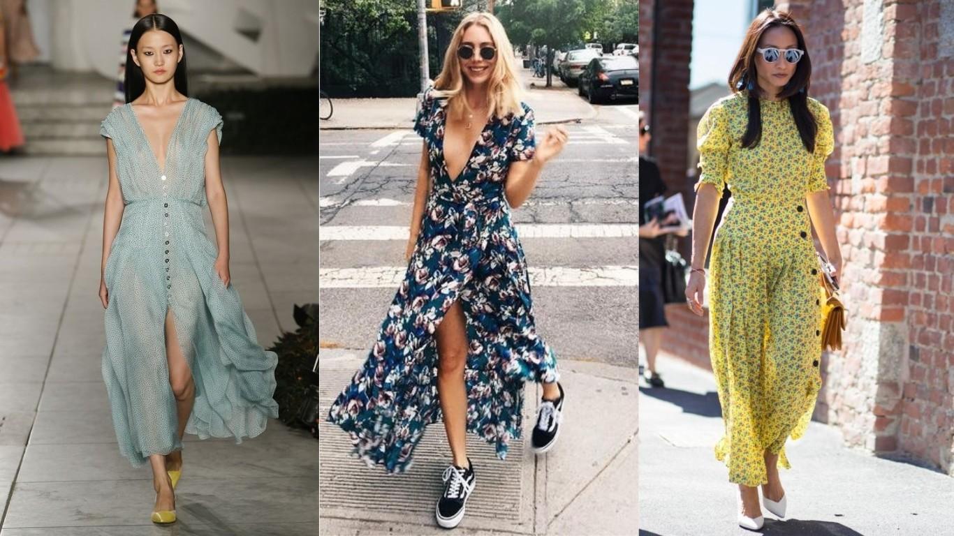 какие платья носить летом 2018 2019 платье с запахом в пол с расклешенным низом в цветочек