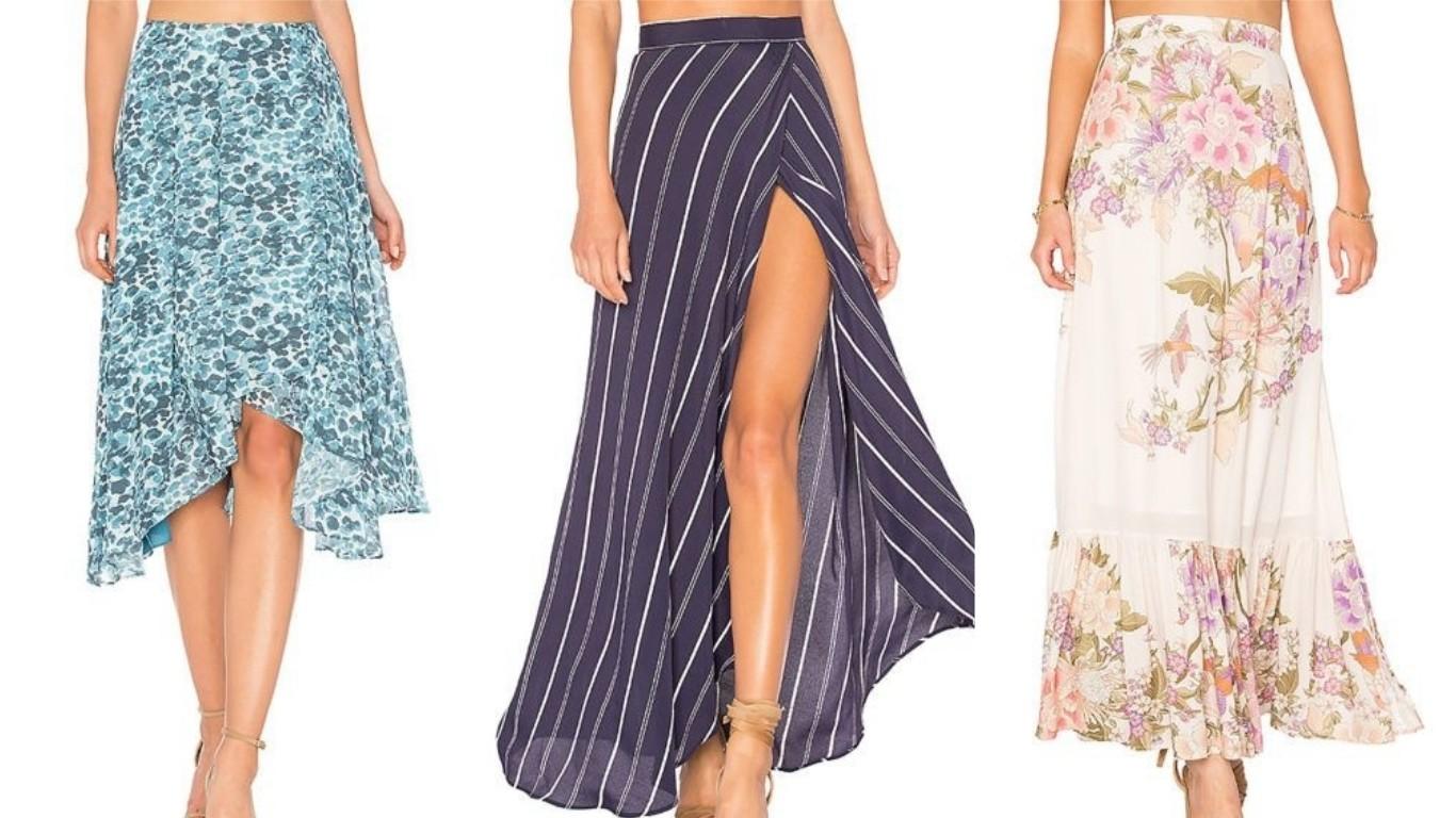 юбка расклешенная в пол до пят с запахом с цветочным принтом мода лето 2018 2019