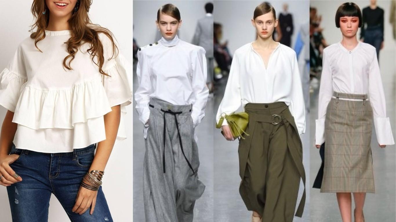 белая рубашка блузка блузон свободного кроя оверсайз мода лето 2018 2019