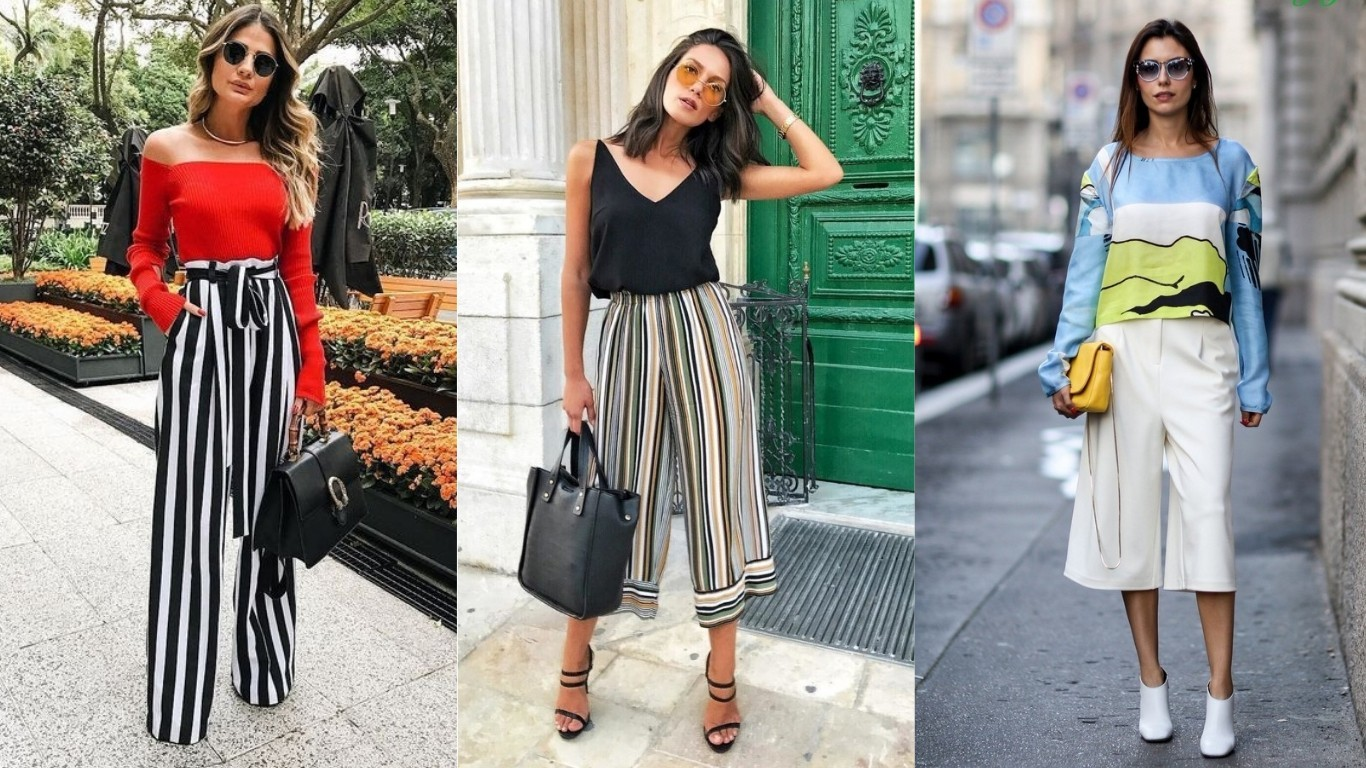 брюки укороченные широкие свободные плаццо кюлоты с отворотом мода 2018 2019