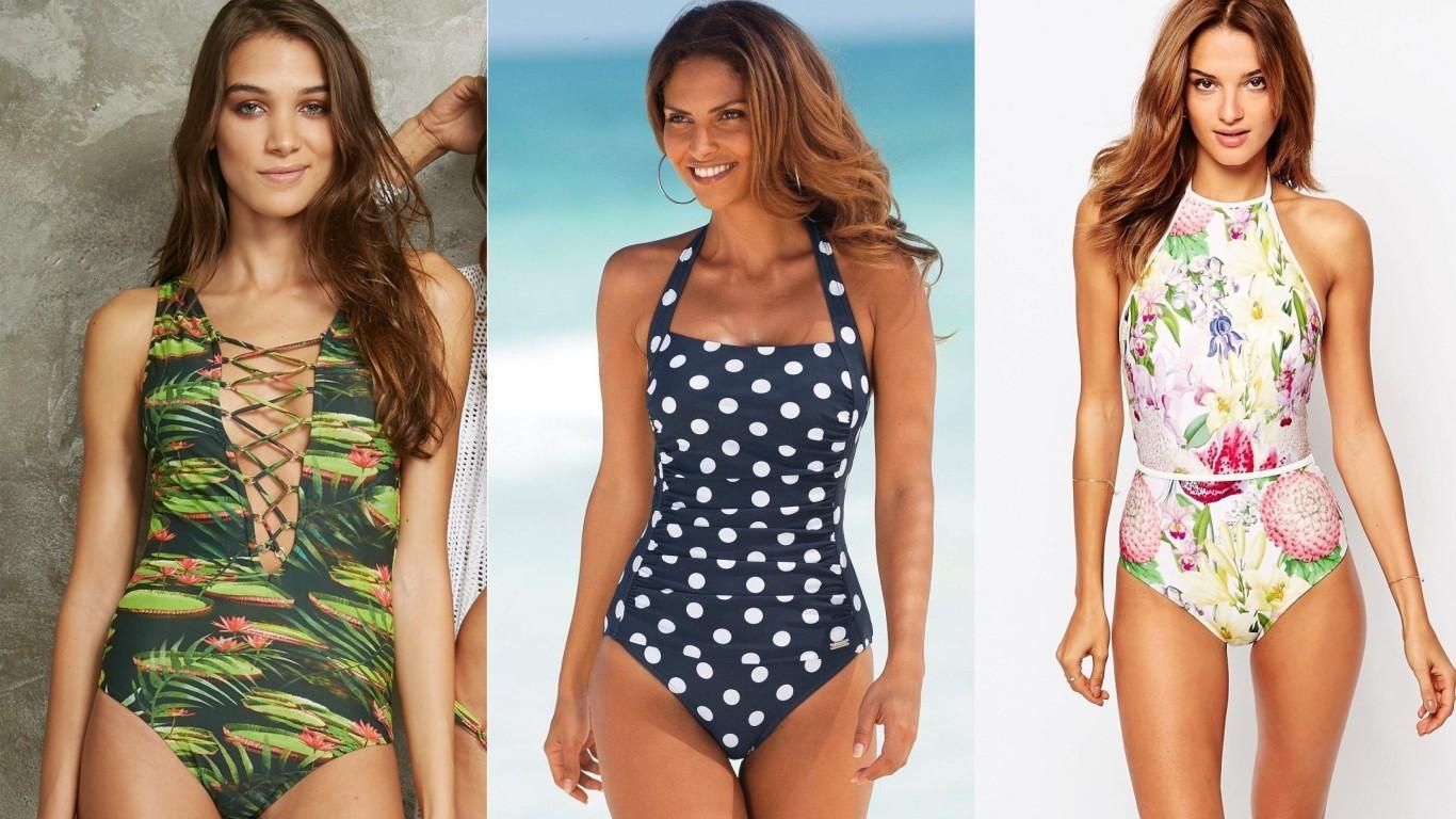 купальники сплошные слитные женские в горошек с притом с рисунком мода 2018 2019