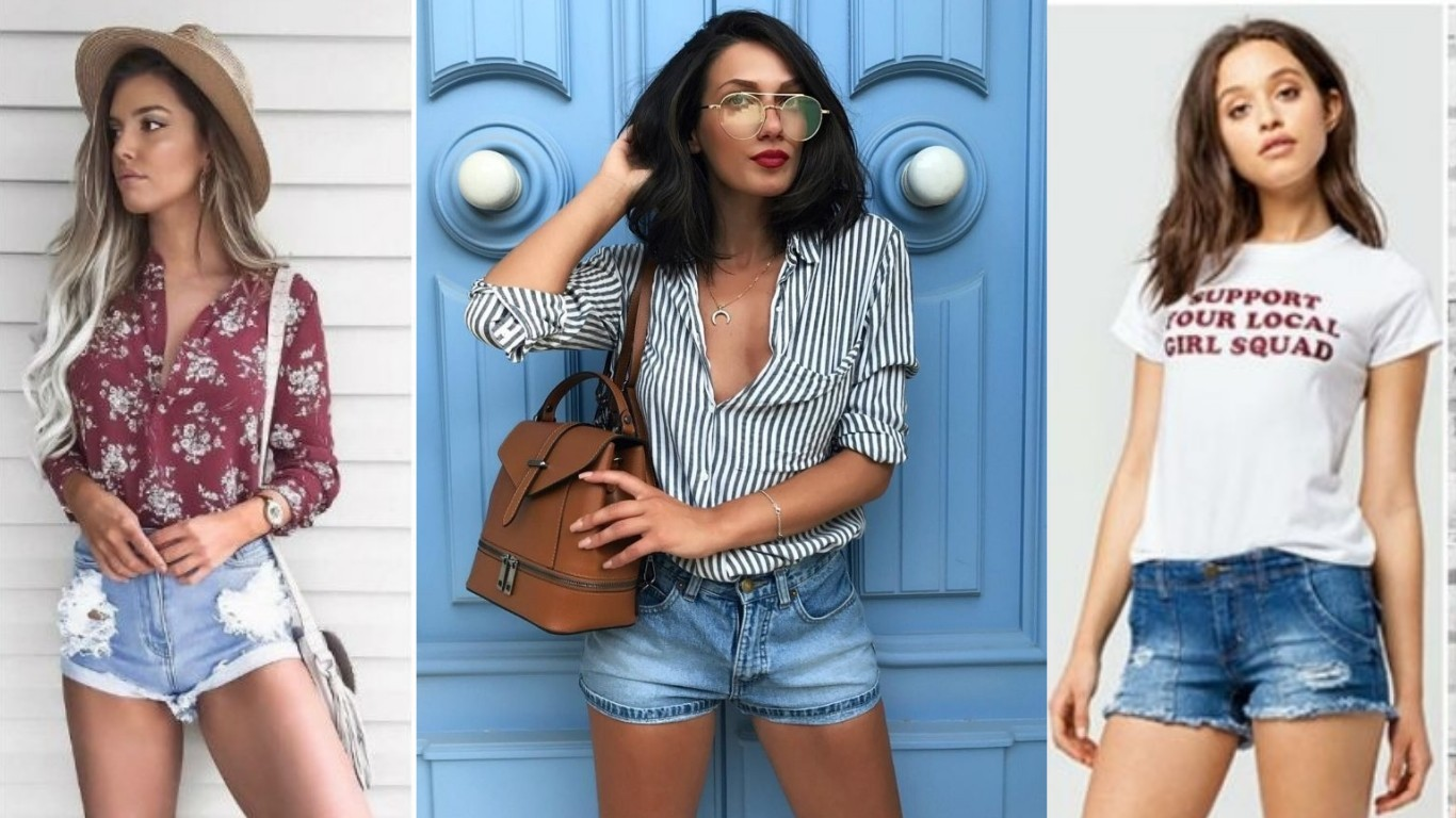 мода лето 2018 2019 шорты джинсовые тканые короткие женские