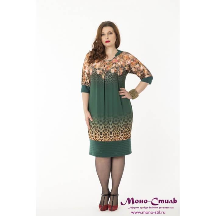 платье для полных дам с цветочным принтом