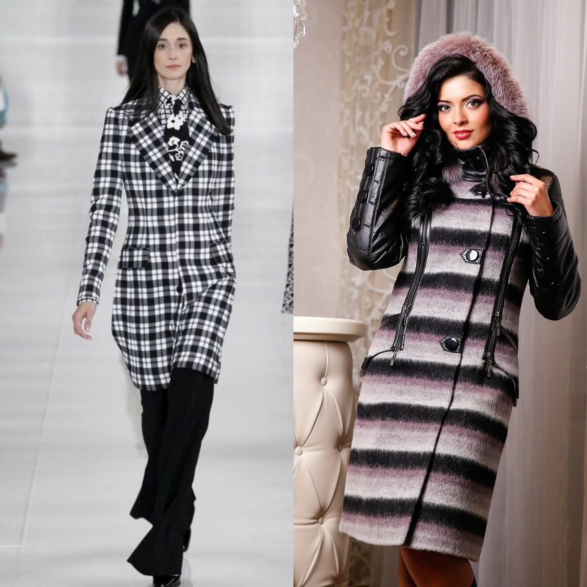 Ультрамодные пальто в полосочку и клеточку для веселых девушек