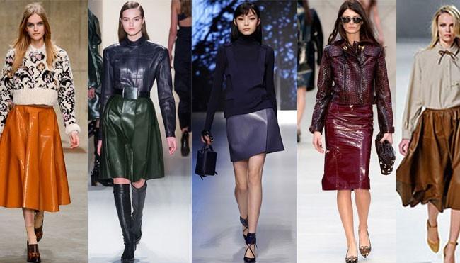Кожаные юбки,мода - весна 2016