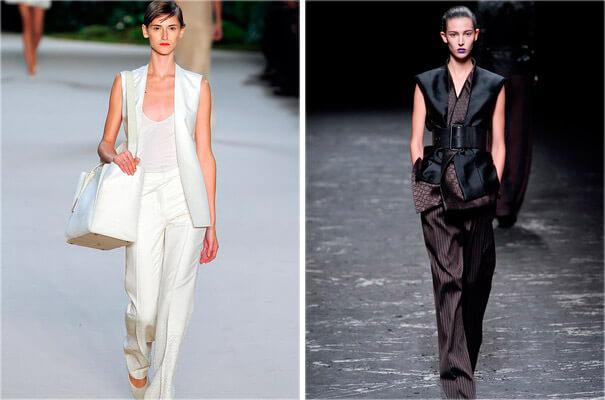 На фото модные женские жилеты
