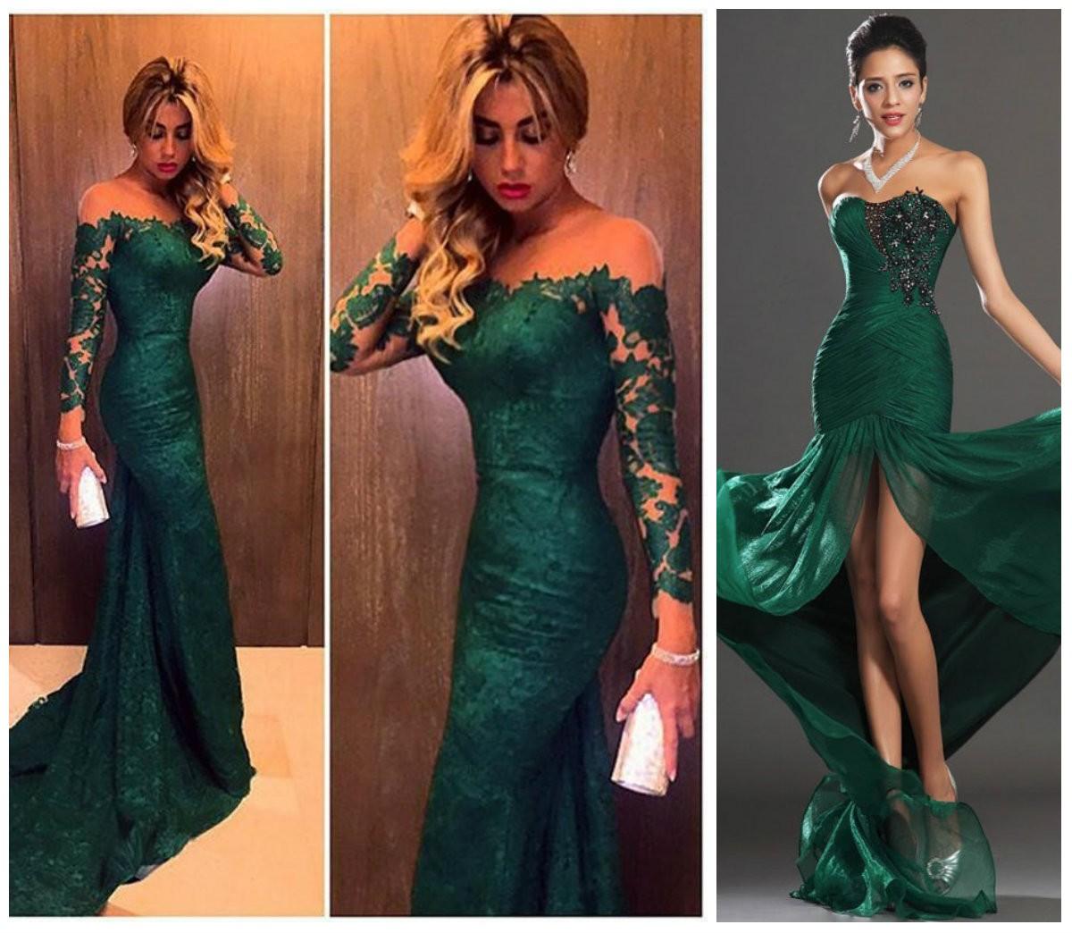 Платье для выпускницы модного изумрудного цвета