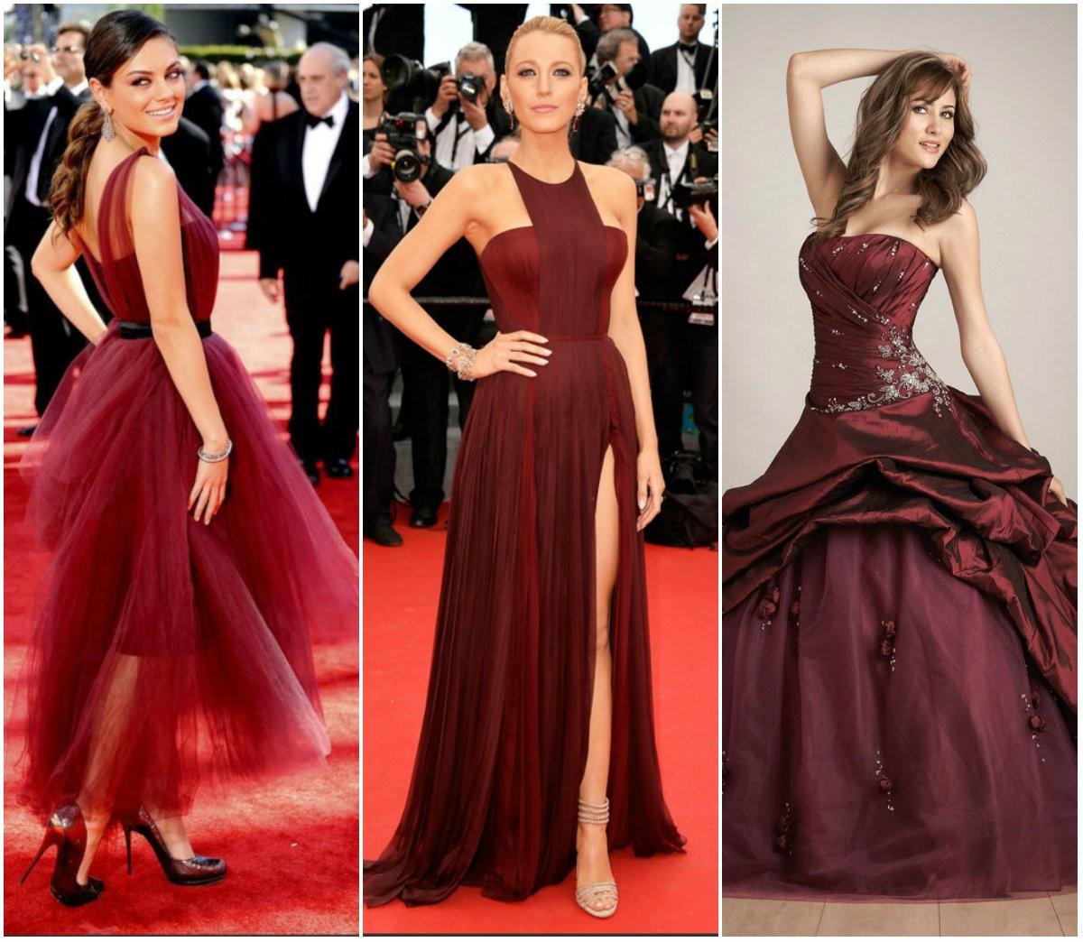 "Модное платье цвета ""Бургунди"""