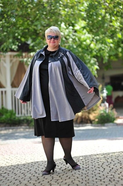 пончо с платьем для полной женщины