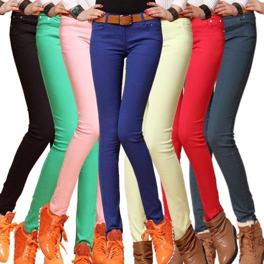 Разноцветные джинсы для полных
