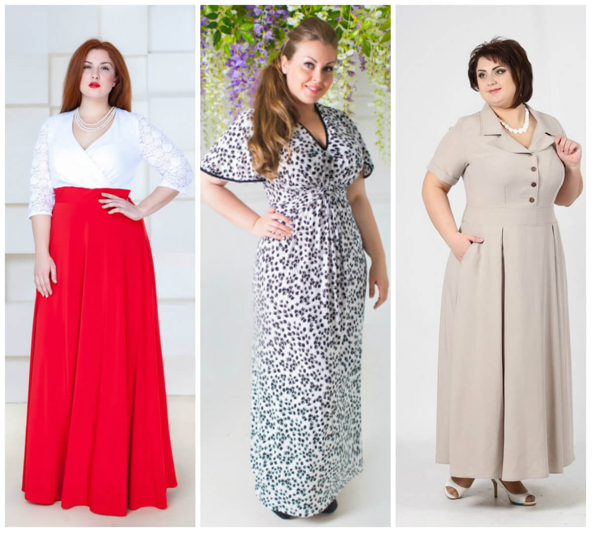 Платье длинное в пол для полных женщин, фото