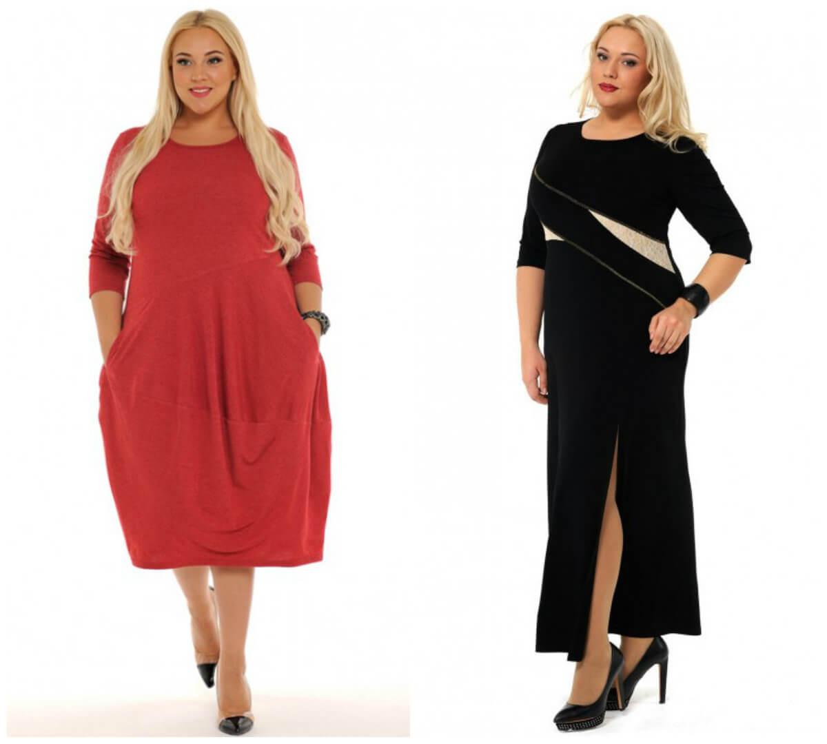сравнение свободного и полуоблегающего платьев для полных