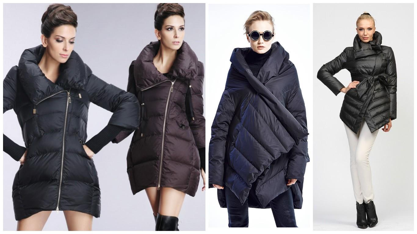 мода 2017, модные пуховики, асимметричный крой пуховиков для женщин