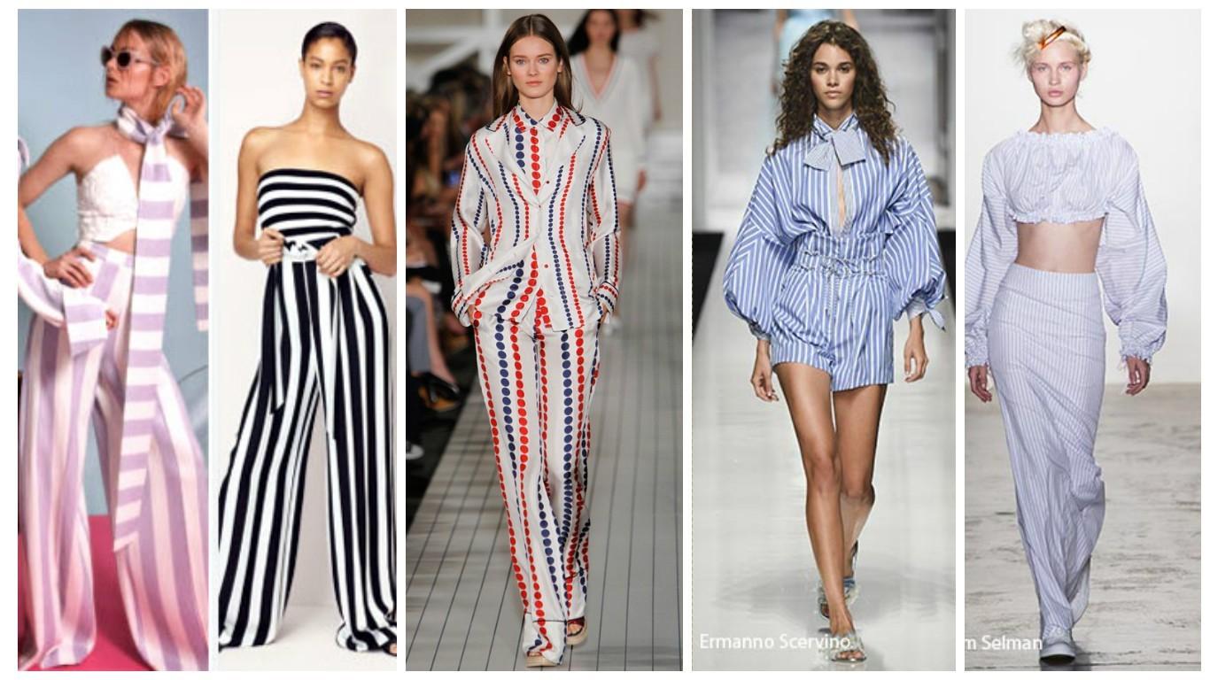 полосатый принт, модный принт, пижамный принт, модные принты для женской одежды 2017