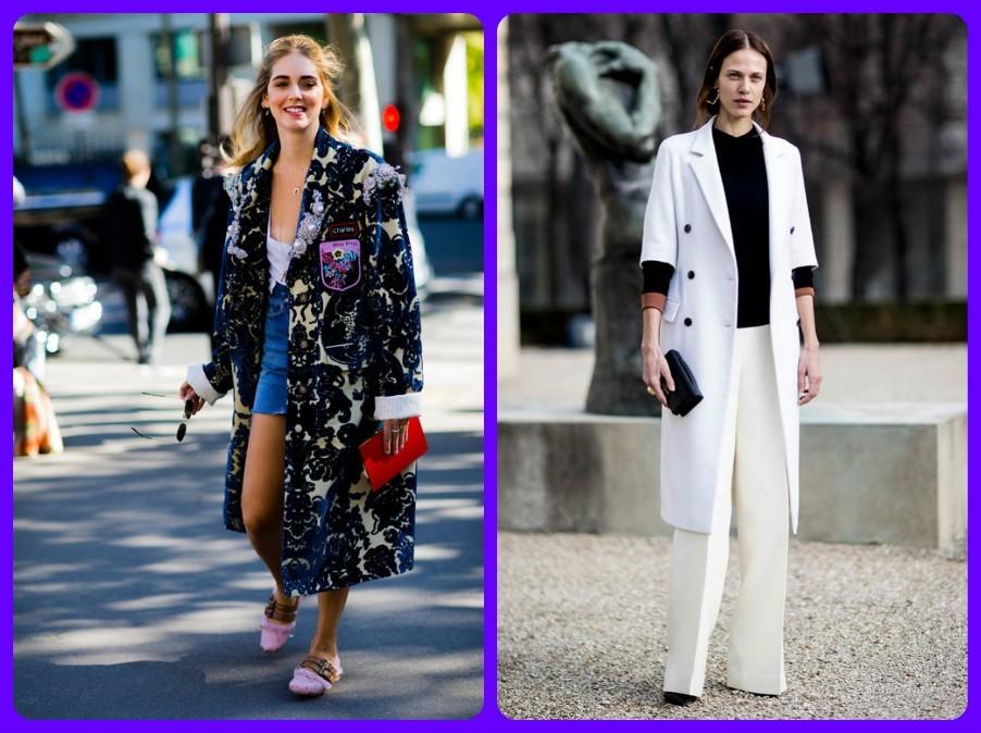 пальто женские весна лето осень 2017-2018, модные луки Парижа фото
