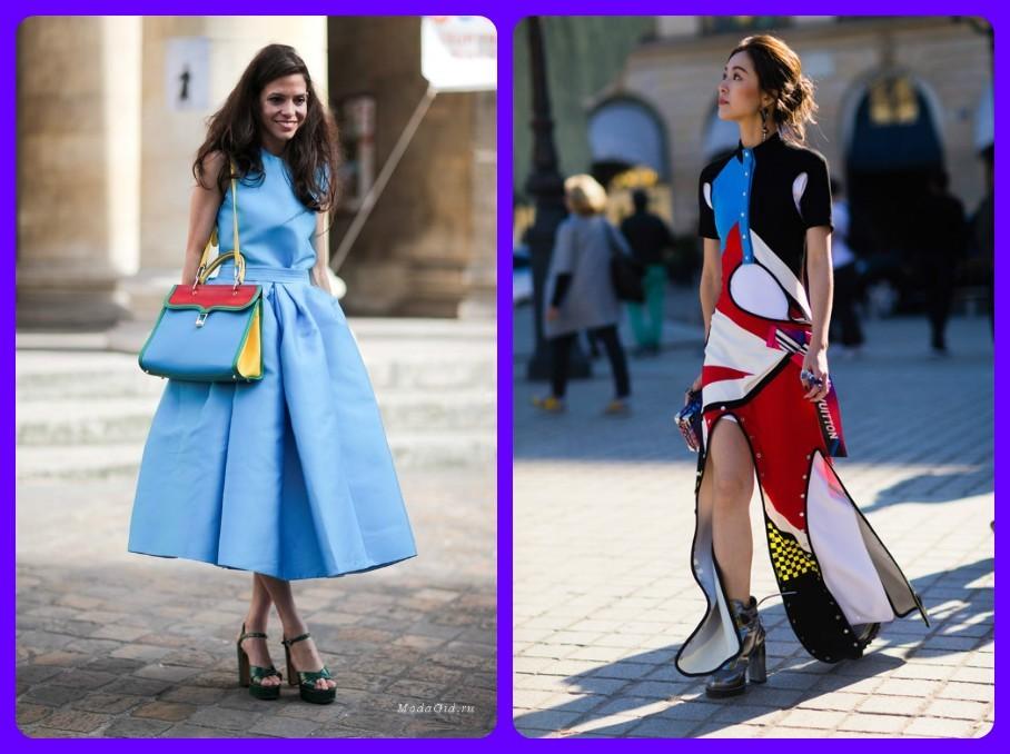 платья из экокожи 2017-2018, платья с экокожанными вставками, уличная французская мода, весна лето