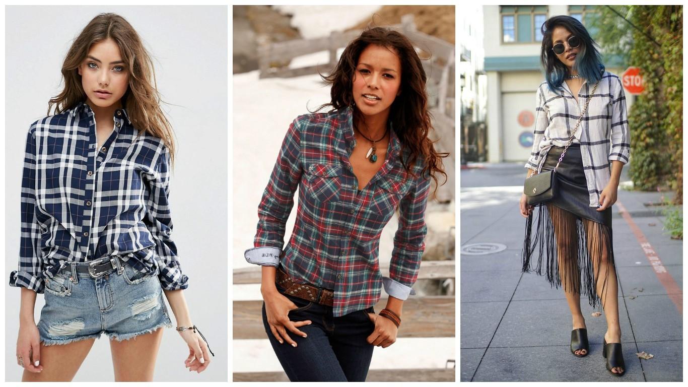 модный лук весна лето 2017-2018. уличная мода, джинсовые шорты с клетчатой рубашкой, джинсове брюки с клетчатым блузоном